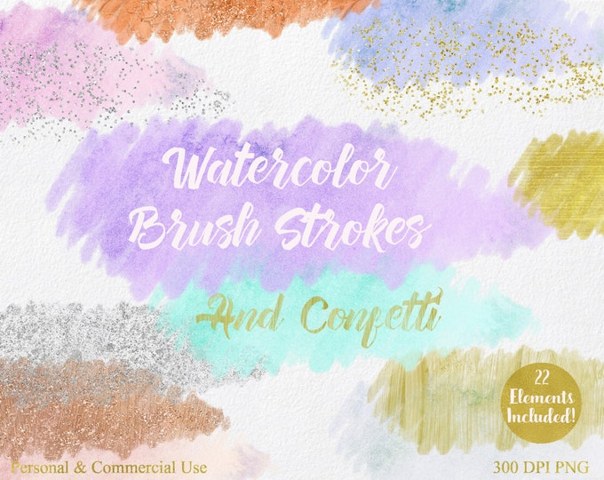 WATERCOLOR BRUSH STROKES Clipart Commercial Use Clipart 22 Watercolor Paint Splotch Silver Gold Confetti Watercolor Textures Logo Clip Art
