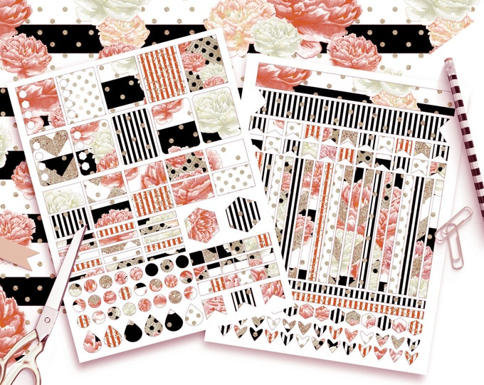 CORAL WATERCOLOR STICKER Sheets Black White Copper Floral Gold Metallic Stripes Sticker Printable Sticker Erin Condren Life Planner Sticker