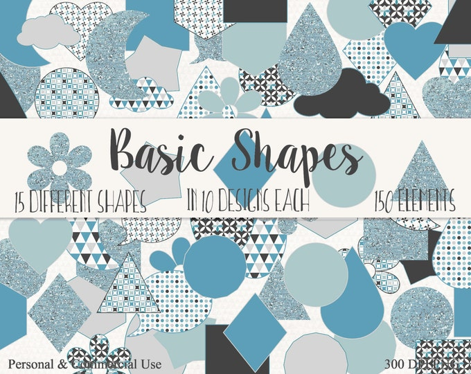 BASIC SHAPES Clip Art Commercial Use Clipart Silver Blue & Gray Circles Flowers Triangles Stars Planner Sticker Clipart Shape Graphics