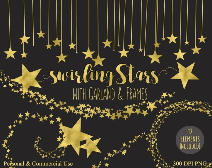 GOLD FOIL STARS Clipart Commercial Use Clipart Shimmering Gold Glitter Stars Digital clip art Metallic Gold Star Graphics Gold Stars Clipart