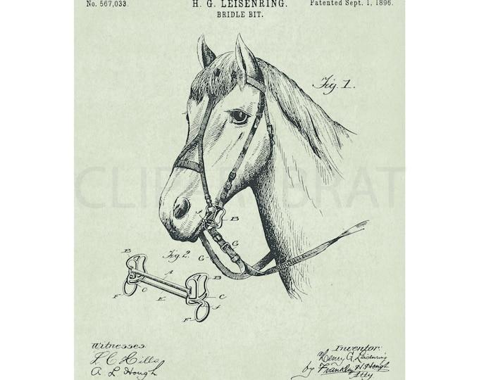 1896 HORSE Printable Art Print Intsant Download Bridle Bit Diagram Vintage Patent Print Vintage Cowboy Western wall Art Horse Poster Art