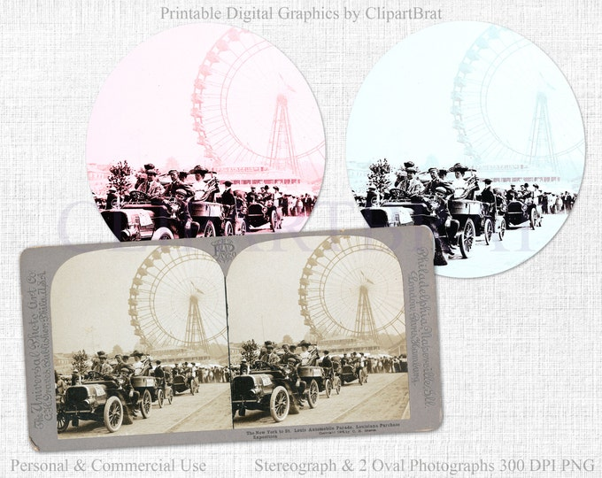 VINTAGE FERRIS WHEEL Clipart Commercial Use Clipart Victorian Stereograph & Oval Ferris Wheel Photographs Vintage Ephemera Tinted Photograph