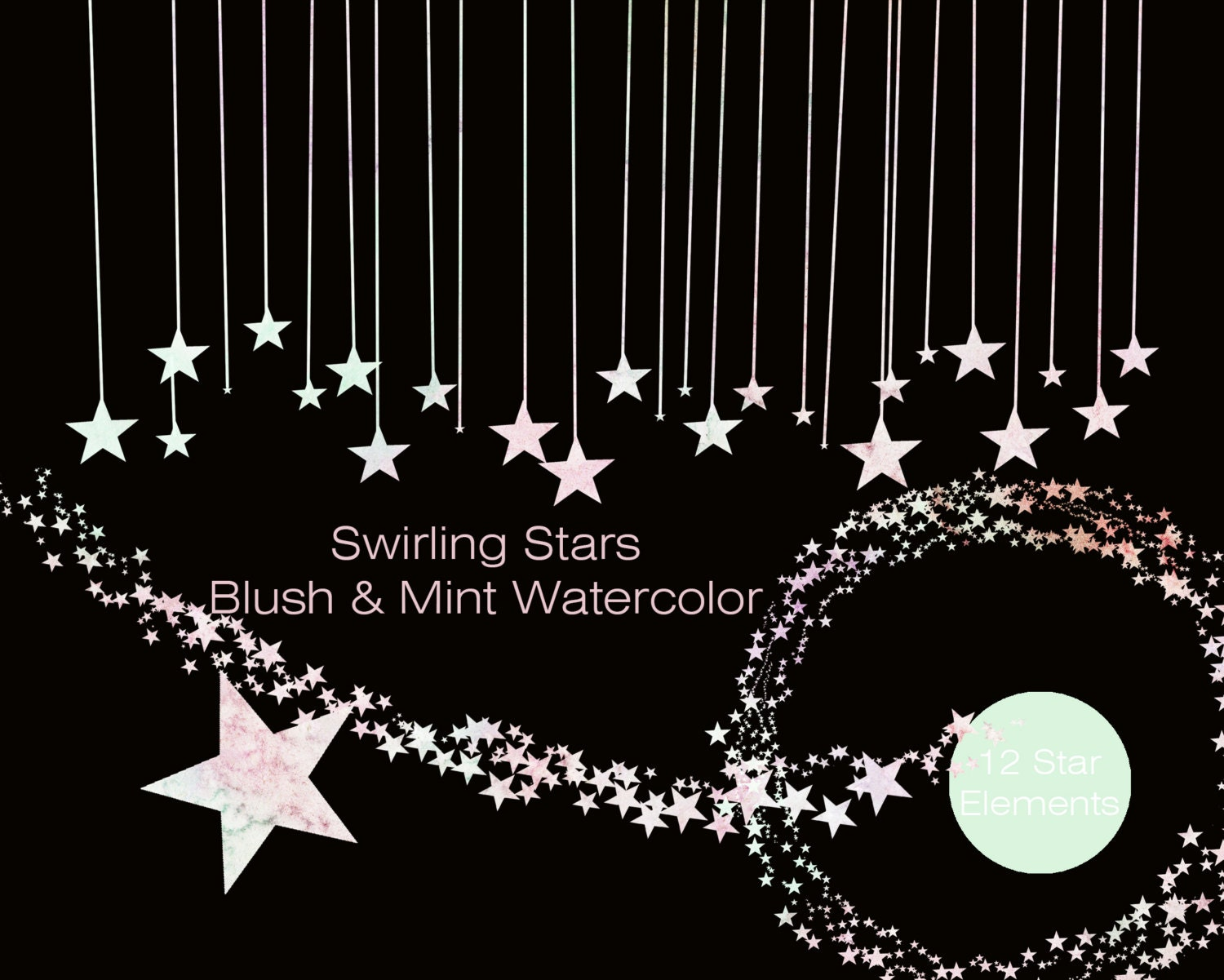 PASTEL RAINBOW Watercolor STAR Clipart Commercial Use ...