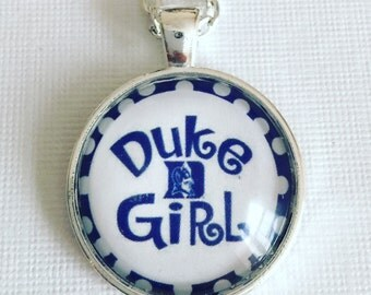 On SALE DUKE GIRL (blue devils) : Glass Dome Necklace, Pendant or Keychain Key Ring. Gift Present metal round art photo jewelry by Bohemian