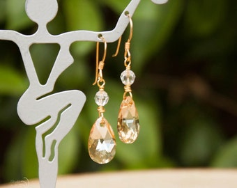 Crystal Bridal Earrings | Swarovski Earrings | Gold Earrings | Bridesmaids Jewelry
