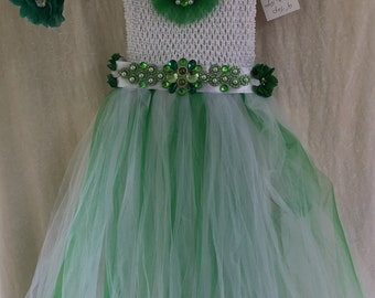 Beautiful Green and White TuTu Dress fits 5T to 10 yrs