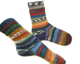 Scrappy warm wool socks, Mismatched colorful socks, Women knit winter socks, art socks, Christmas gift, unique gift idea, striped socks,