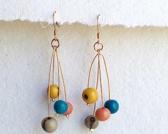 Multi color earrings - dangle earrings - silver earrings - acai berry earrings -copper earrings- eco-friendly jewelry