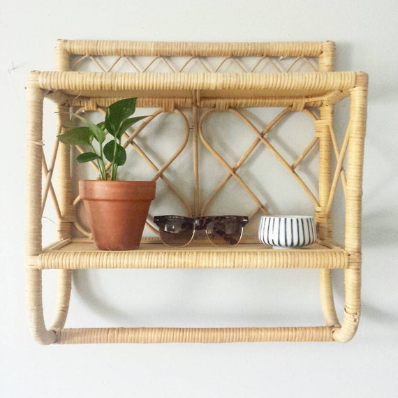 As Is Rattan Shelf Wicker Shelf Bathroom Shelf W Towel Bar