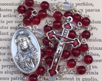 Handmade chaplet of the Sacred Heart of Jesus, red glass, enamel cross