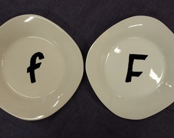 Hand Painted Initial Appetizer Plates
