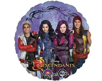 "Disney Descendants Balloon 18"" Round Mylar Printed on both sides Fill with Helium or Air"