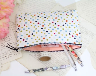 Zipper Pouch, Pencil Case, Makeup Bag, Cotton Pouch, Polka Dot