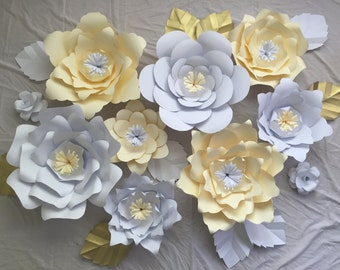 10 piece ,Large Paper Flowers, Nursery Wall Decorcations ,Customize your colors!!