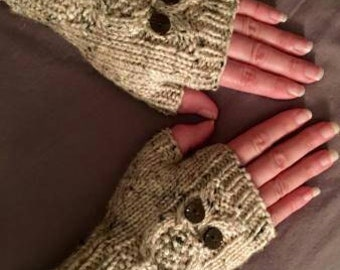 Handknit owl fingerless gloves