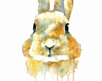 Watercolour Rabbit Print