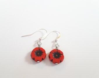 Poppy Red Flower Drops . Earrings