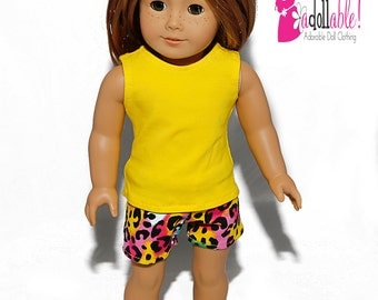 Special Sale 18 inch Doll Clothing, Yellow Tank Top, Leopard Spotted Shorts made to fit like American girl doll clothes