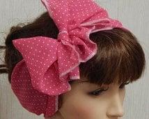 Womens chiffon head scarf, pin up tie up hair scarf, self tie headscarf, handmade headband, vintage summer head wraps