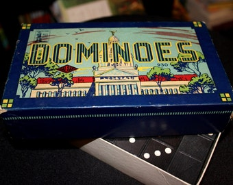 Antique Dominoes Game Set from the 1930s or 1940s - Complete Set with  Original Box