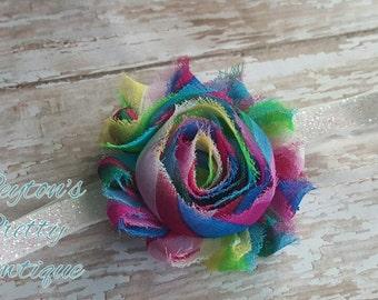 Rainbow Shabby Flower Glitter Elastic Headband, Birthday