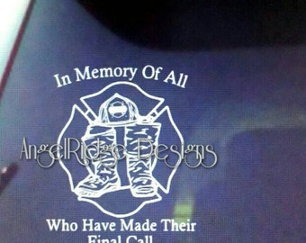 Firefighter memorial decal