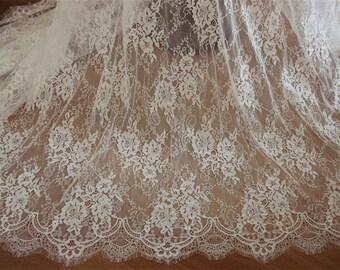 TheFabriqBoutique - White Lace French Chantilly Lace Fabric Elegant Floral Wedding lace Bridal Veil Lace