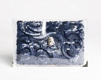 Deep Blue sequins Changing Clutch
