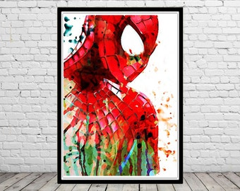 Spiderman inspired,  Watercolor Painting,  Art Print, Superhero Art, Spiderman Poster, Spiderman Print, Marvel (31b)