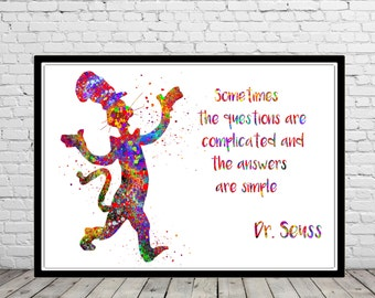 Dr Seuss inspired, Cat in the hat, Dr Seuss Quote, watercolor print, Nursery, Kids Room Decor (1560b)