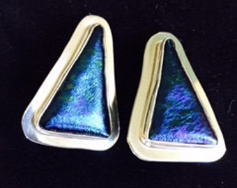 Dichroic Glass and Sterling Silver clip Earrings