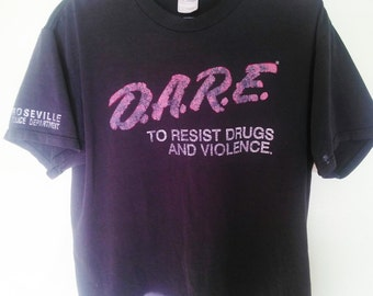 1980's vintage  police issued T-Shirt, D.A.R.E vintage shirt, 1980's T-shirt, vintage T-shirt,