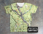 Custom Home Town Map Shirt, Personalized All Over Print Map TShirt, wear the place you love!