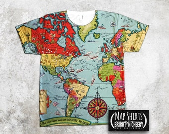 World map tshirt etsy no vintage 1938 massey harris world map t shirt all over print tee travel gumiabroncs Images