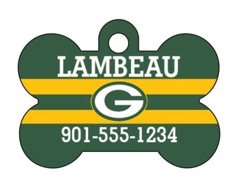 Green Bay Packers Pet Id Dog Tag Personalized w/ Your Pet's Name and Number