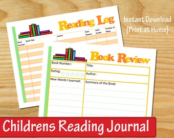 CHILDRENS READING JOURNAL, Reading Log for kids, Instant Download, Printable
