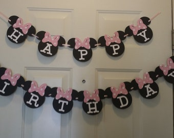minnie mouse birthday banner, minnie mouse party, minnie mouse birthday, banner, pink minnie mouse banner, happy birthday banner