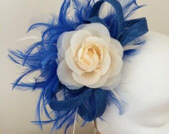 Electric blue and cream fascinator