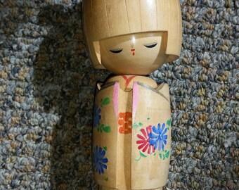 Large Wooden Japanese Kokeshi Folk Art Doll