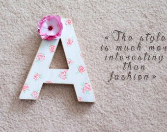 Wood letter, wood letters for home decor, shabby chic, white, hand-painted, girls room decor