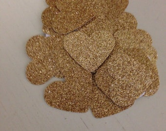 Gold glitter heart confetti/table scatter/Party confetti/wedding/ bridal shower/baby shower/gold heart/table decor