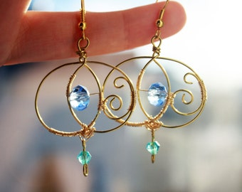Drops earrings gold and blue (brass)