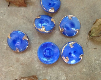 6 old blue moonglow / glass buttons - hangemahltes of gold Art Nouveau design - beautiful