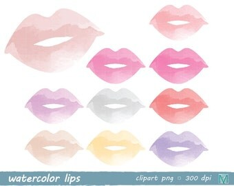Watercolor Lips - Clip Art images - Digital Clip Art for Scrapbooking Card Making Paper Crafts - instant download digital file - PNG