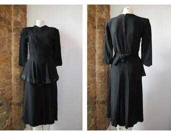 CC41 Black 1940's crepe evening sequinned dress