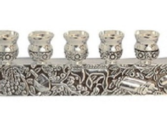 "Silver Coated Metal Hanukkah Menorah ""Grapevine"""
