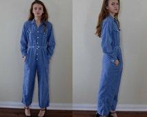 Vintage Ralph Lauren Blue Denim Jumpsuit, Denim Jumper, Ralph Lauren, Casual Wear, Denim Wear, 1980s Denim Jumpsuit, Ladies Jumper
