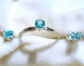 Apatite Ring and Earrings Set - Paraiba Swimming Pool Blue!
