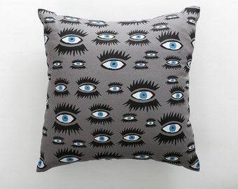 Grey Eye Screen-Printed Cushion, throw pillow