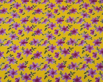 "Pure Cotton Floral Printed Pattern Yellow Color Decorative Indian Fabric 45"" Wide Sewing Crafting Dress Making Material By 1 Yard ZBC6109"